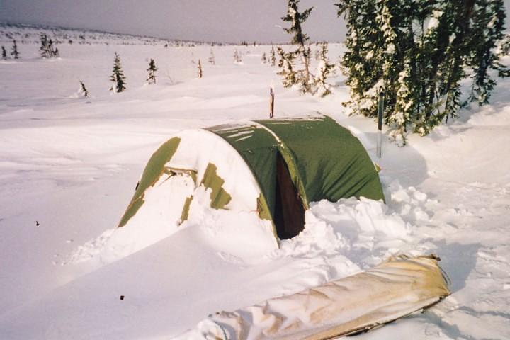 Teltet etter en forblåst natt på Hedmarksvidda ca 1999.