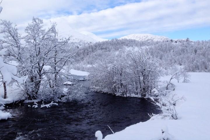 Noen dager med mildvær hadde sørget for at Malmeelva gikk åpen ut fra Gunnilla. Jeg holdt meg godt unna isen på vannet.