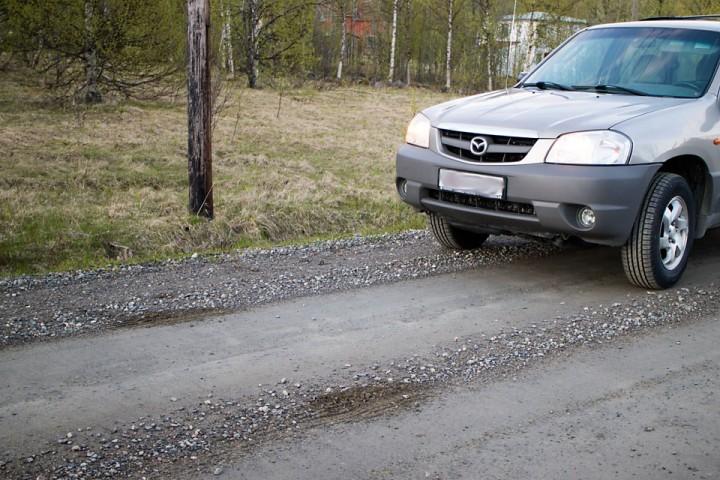 Med kraftige fraspark klarte bjørnen å klore opp veibanen da den tok løs inn i skogen (og jeg klarte å kjøre over sporene før jeg tok bildet). Akkurat like langt mellom sporene som sporvidden på bilen