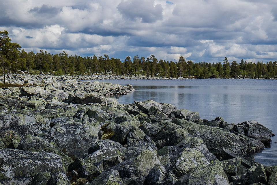 Steinura ved Storrundhåen er en av de mest krevende i Femundsmarka. Her gjelder det å være forsiktig på beina om regnet gjør steinenen såpeglatte.