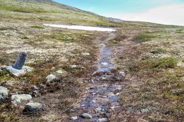 Tropevarme og snøsmelting betyr som regel at T-stien blir omgjort til en elv.