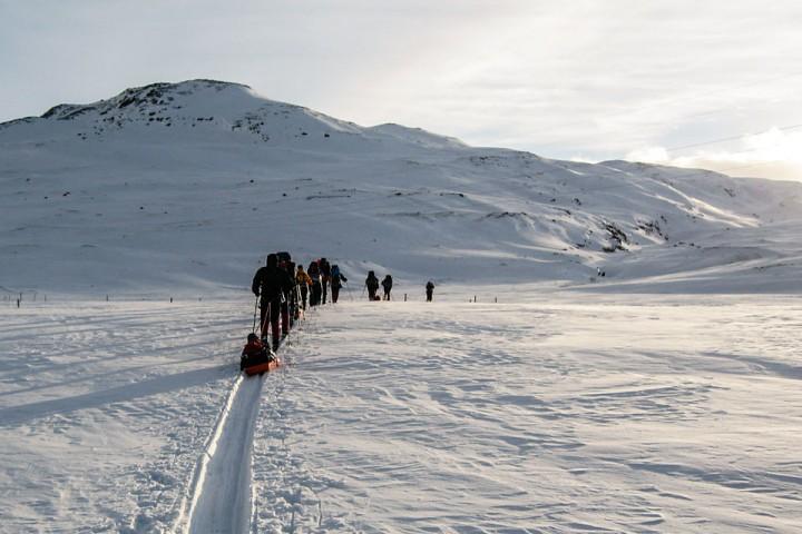 Klassen på vei fra Breistølen ved veien over Hemsedalsfjellet