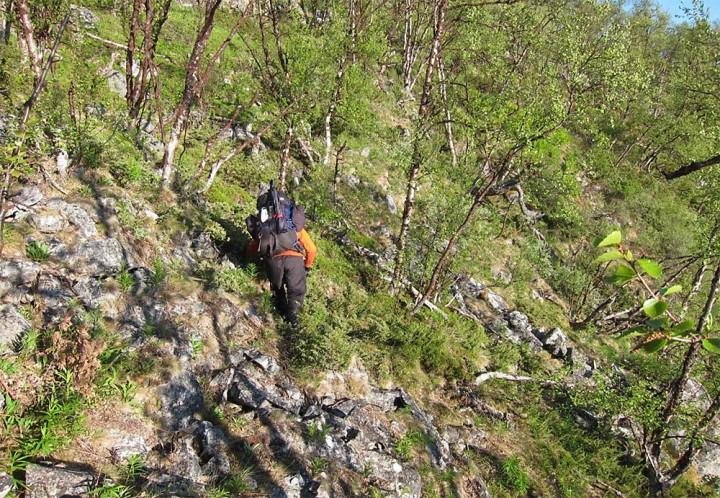 Det er bratt ned til Njallaavzi, og går man med tung sekk må man være forsiktig.
