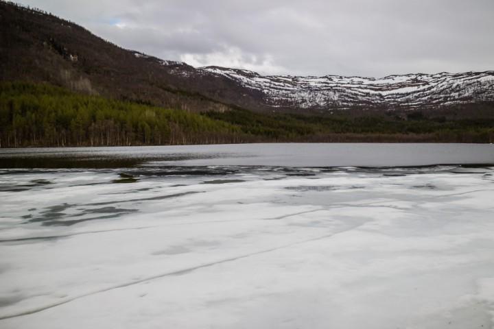 17. mai hadde det meste av isen løsnet, slik at det bare lå is i området ved utoset.