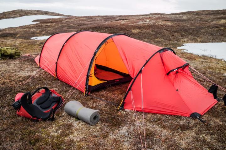 Ingen problemer å finne en barflekk til teltet.