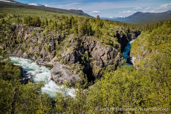 Canyonen der Anjavasselva svinger nedover mot Dividalen.