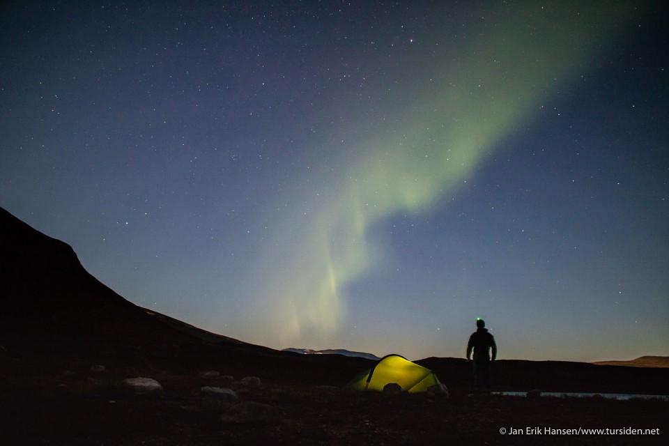 Nordlysnatt (og som modell klarte jeg ikke å stå stille til kameraet var ferdig med å ta bilder).